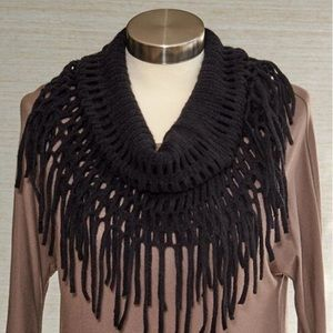 NWT! Black Open Weave and Fringe Scarf